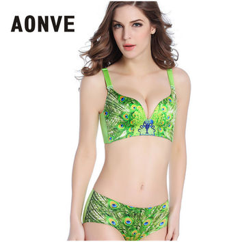 Women Bra And Brief Set Lace Bralette 3/4 Cup Push Up Peacock Green Underwear Brassiere Set Lingerie Panty Bras