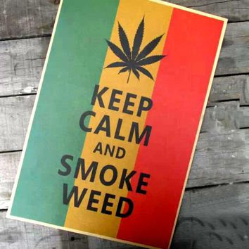 Keep Calm and Smoke Weed Poster Print
