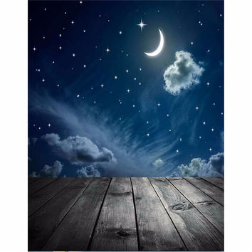 3x5ft Vinyl Photography Background Night Moon Moon Board photo Studio Props Photographic Backdrop Waterproof 0.9m x 1.5m
