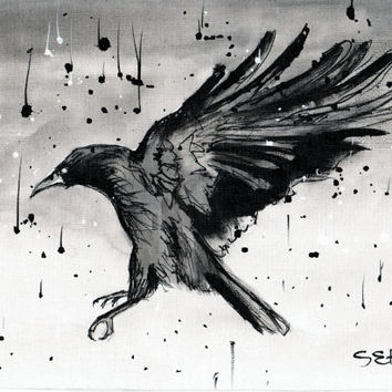 Ink painting on canvas A4 - Raven