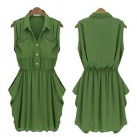 Army-green Chiffon Dress with Belt | Eco-friendly Items In Summer