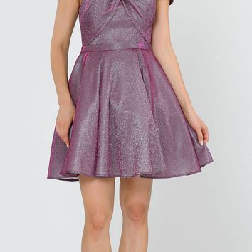 Magenta Homecoming Short Dress Off-Shoulder