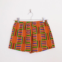 Orange Tribal Short African Tribal Print Short Ethnic Short Hippie Short Hippy Short Boho Short Festival Short Mini Short S Small M Medium