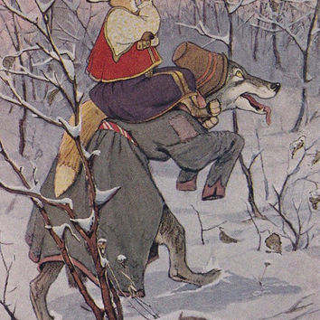 """Postcard Illustration by Rachev for Russian Folk Tale """"The Fox and The Wolf"""" -- 1955, Soviet Artist Publ."""