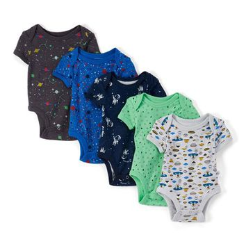 Blue & Green Let's Rocket Five-Piece Bodysuit Set - Newborn & Infant