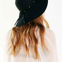 Stud-Trim Floppy Hat- Black One