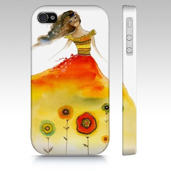 iPhone4 Phone Case - Aphrodite Rising - 4s cell cover teen girl red summer dress fashion sketch watercolor art painting accessory Oladesign
