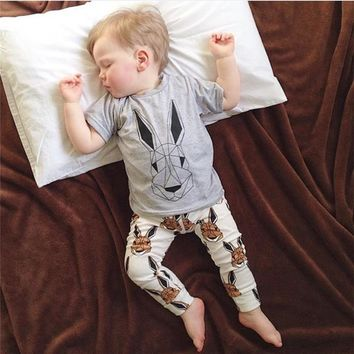 Fashion Baby Boy Clothes Cartoon Printed T-shirt+Pants Newborn Baby Boys Clothing Set Infant Toddler Outfits Children's Clothing