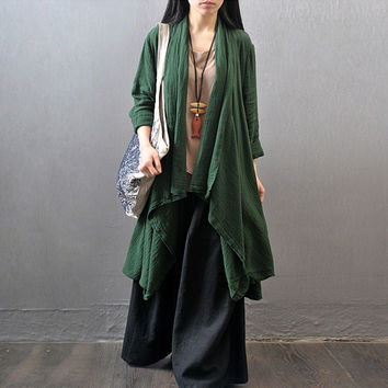 Women autumn cotton linen loose Long robe covered coat
