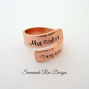 Alis Volat Propriis wrap ring. Handstamped  wrap ring. Handstamped jewelry. Copper wrap ring. Inspirational jewelry. Inspiration wrap ring