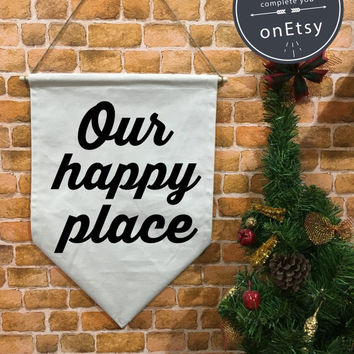 Our Happy Place baner flag hanging wall banner flag, metallic gold banner, wall hanging decoration,Baby Gift, Nursery Decor