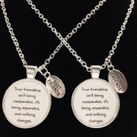 2 Necklaces True Friendship Long Distance Quote Best Friends Couple's Set