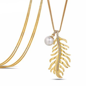 Gold Color Feather Long Chain Necklaces Rhinestones Simulated Pearl Pendant Necklace