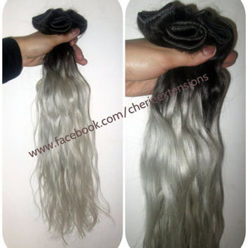 """1B Off Black Silver Grey Hair Extensions Dip Dye 8A Remy Ombre Balayage Human Full Head Weft 200g 22"""" Dark Root"""