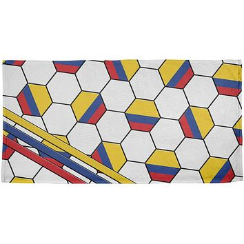 World Cup Colombia Soccer Ball All Over Beach Towel