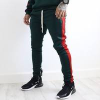 Derek Track Pants (Green/Red)