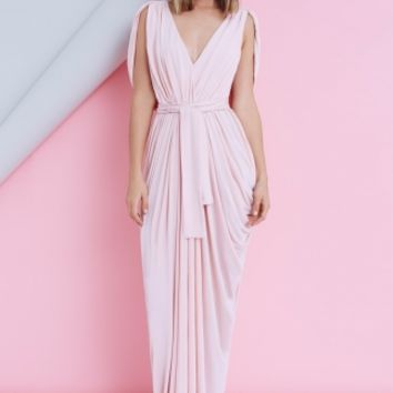 GRECIAN MAXI DRESS - draped maxi dress in blush