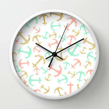 Summer pastel pink mint gold nautical anchors  Wall Clock by Girly Trend