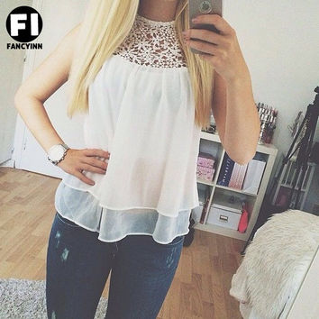 Summer Sexy Blusas Femininas White O-neck Flower Lace Chiffon Sleeveless Women Blouse Tank Top = 1667538244