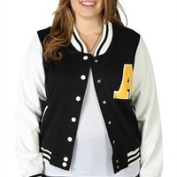 Plus Size Varsity Jacket with Leather Sleeves and A Patch