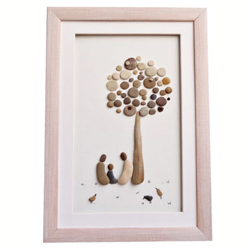 Family of three pebble art gift, New home housewarming or anniversary gift idea, Newborn baby gift, Family framed wall art, Nursery décor