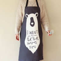 Bear Hug Apron - Kitchen apron - unique adult apron - kitchen decor - bear print