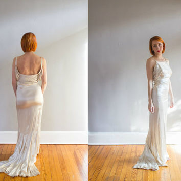 1920's Ivory Liquid Silk Satin and Rhinestone Formal Gown / Wedding / XS