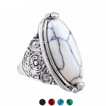 Fashion Jewelry Vintage Look Tibetan Alloy Antique Silver Plated Personality White Oval Turquoise Ring