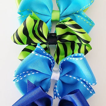 Pinwheel Hair bow, Toddler Girl Hairbow, Grosgrain Ribbon Bow, Baby Hairbow, Ponytail bow, Hair bows for girls- Set of 5