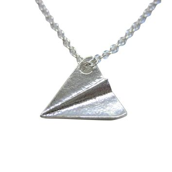 Silver Toned Paper Airplane Necklace