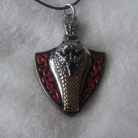 Cobra snake shield  stainless steel pendant necklace
