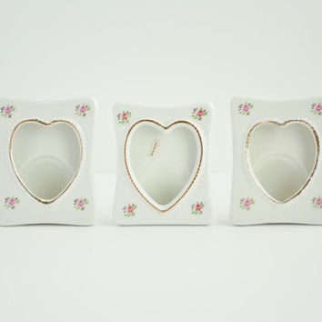 Vintage Porcelain Heart Picture Frames - Set of 3 - Floral - Gold