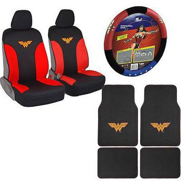 Licensed Official New Wonder Woman Car Truck Front Seat Covers Floor Mats Steering Wheel Cover Set