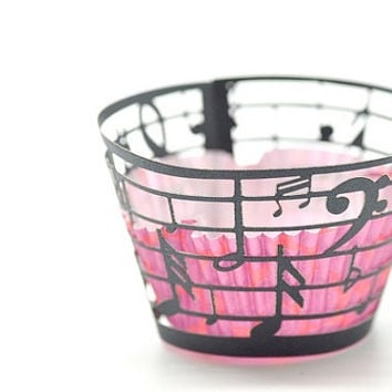 20 Musical Notes Music Laser Cut Cupcake Wrappers Wraps - 15 Colors Available