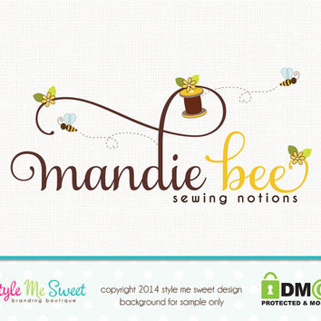 Bee Logo Sewing Logo Premade Logo Design Hand Drawn Small Business Logo Watermark Design