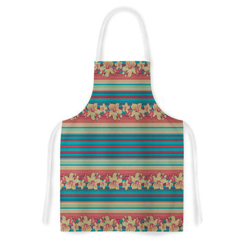 "Nina May ""Mahalo Denim Stripe"" Teal Floral Artistic Apron"