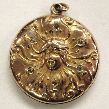 Victorian Art Nouveau Locket Gold Lady with Diamonds in Her Hair