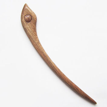 Wooden Hair Stick, hair pin, hair stick, moonstone bead, wooden pin, pin, mahogany wood