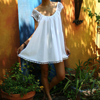 White Cotton Baby Doll Nightgown Shabby Chic by SarafinaDreams