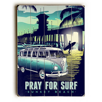 Surf Sunset Beach by Artist Matthew Schnepf Wood Sign