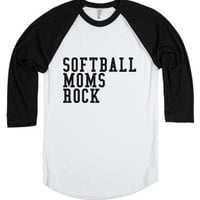 Softball Moms Rock-Unisex White/Black T-Shirt