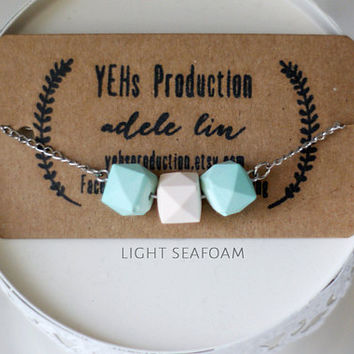 Light Seafoam Green Essential Oil Diffuser Necklace, Necklace Geometric, Diffuser Jewelry, Sea foam Bridesmaid Gift, Gemstone, Gift for Her