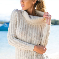 Apricot Backless Long Sleeve Knitted Sweater