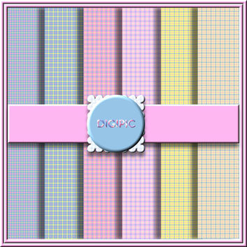"COMMERCIAL USE OK 6 Digital Pastel Plaid Tartan Scrapbook Papers, 12""x12"" 300Dpi Instant Download"