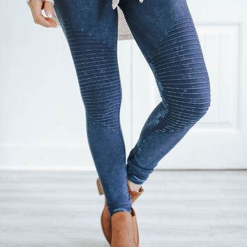 Midnight Moto Leggings - Navy