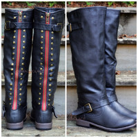 Wake Forest Black Red Zipper Riding Boots
