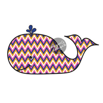 Chevron Whale Car Decal Sticker Colorful Beach Bumper Sticker Laptop Decal Cute Animal Nautical Ocean Pink Blue Orange White