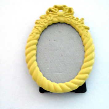 Yellow Picture Frame - Yellow Painted Frame,Tiny Picture Frame,Small Oval Photo Frame,Baroque Photo Frame,Whimsical Frame,Yellow Table Frame