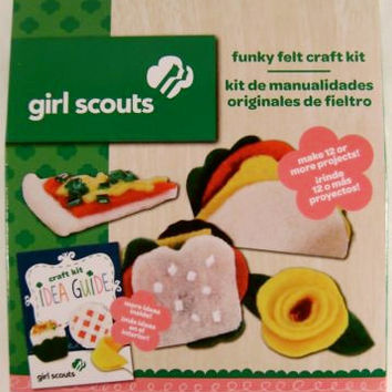 Lot 3 Girl Scouts Funky Felt Craft Kit Idea Guide Projects Colorbok Crystals NEW
