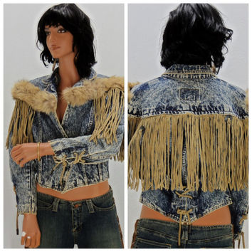 80's fringed cropped jacket, size S, leather fringe, faux fur trim, acid washed, crop  jacket, boho, retro, western, denim jacket,